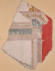 Fragment of wall painting showing partial building