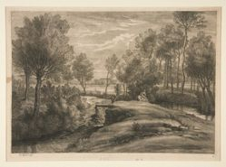 Landscape with man watering his horse