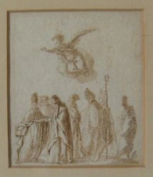 An angel hovering over a group of priests