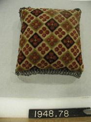 Pincushion, embroidered canvas with bead fringe