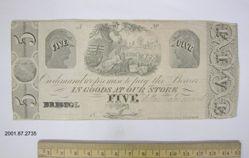 Five dollar bill of trade, Bristol, Connecticut