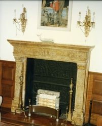 Sculptured marble mantel