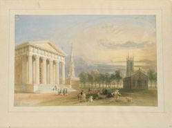 Study for Bartlett's View of Yale College and Statehouse