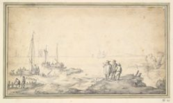 Three Figures on a Dune Overlooking Bay with Ships