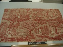 "Length of printed cotton, ""Romantic Scenes"""