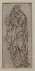 A figure in extensive drapery with clasped hands
