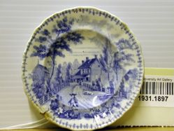 "Cup Plate with View of ""The Residence of the late Richard Jordan, New Jersey"""