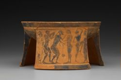 Tripod pyxis showing Achilles pursuing Troilos