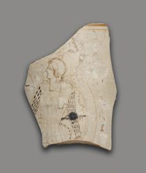 White ground black-figure lekythos fragment with Amazon