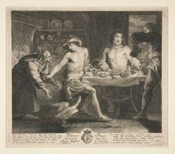 Philemon et Baucis recoivent dans leur cabane Jupiter et Mercure