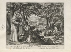 Mary of Egypt, one of 24 prints from the series Solitudo Sive Vitae Foeminarum Anachoritarum (Female Hermits in Landscapes)