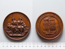 Bronze Medal from Belgium Commemorating Construction of Railway Joining the Escaut and the Rhine
