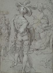 Standing Youth Seen from Behind, and Other Figures