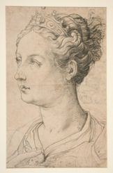Portrait Head of a Young Lady Wearing a Diadem