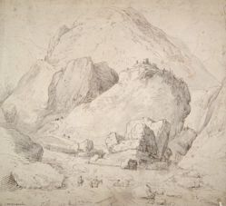 Mountainous Landscape with Figure on Horseback in Foreground