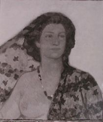 Photograph of Fritz Erle's portrait of a woman-- from Katherine S. Dreier's private collection