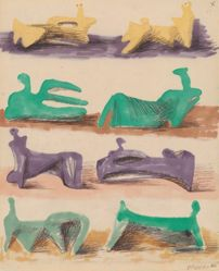 Henry Moore, Eight Reclining Figures (recto and verso)