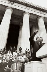 Mordecai Johnson (at podium); first row: Bishop William Jacob Walls, Roy Wilkins, and A. Philip Randolph; Jesse M. Tinsley (second row standing), from the series Prayer Pilgrimage for Freedom