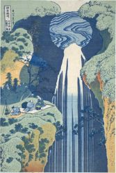 Amida Waterfall Deep in the Distance on the Kiso Road, from the series Tour of Waterfalls in Various Provinces