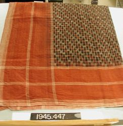 Two squares of cotton cloth with ikat pattern