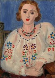 Woman in Patterned Blouse