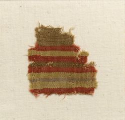 Textile fragment with yellow, red and brown bands
