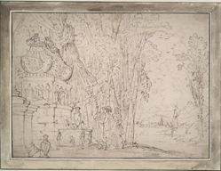 Three Figures Contemplating a Sarcophagus