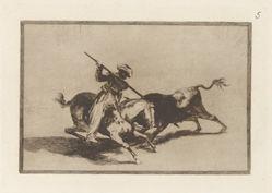 El animoso Moro Gazul es el primero que lanceó toros en regla. (The Spirited Moor Gazul is the First to Spear Bulls According to the Rules), Plate 5 from La tauromaquia