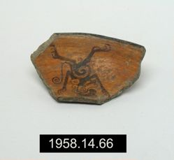 Fragment of edge of plate, with image of monkey