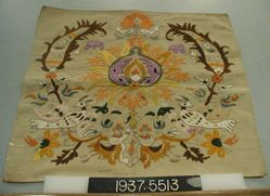Square of cotton, embroidered