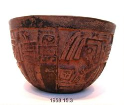 Bowl with Goggled Warriors and Glyphs