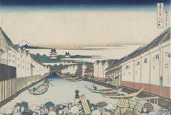 Nihonbashi in Edo, from the series Thirty-six Views of Mount Fuji