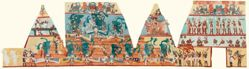 Mural copies from Bonampak. Three paintings from the three rooms of building 1 at Bonampak at 50% reduction.