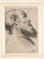 Untitled (bearded man, looking up to left)