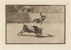 Ligereza y atrevimiento de Juanito Apiñani en la de Madrid (The Agility and Audacity of Juanito Apinani in [the Ring] at Madrid), Plate 20 from La tauromaquia