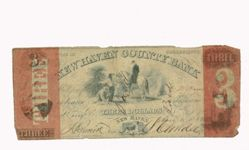 Three dollar note of the New Haven County Bank