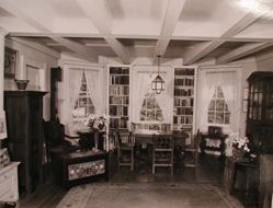 "Interior view of Katherine S. Dreier's Milford home, ""Laurel Manor"" -- beamed library"