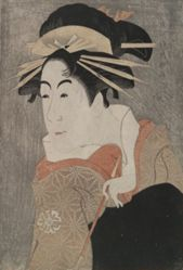 The Actor Matsumoto Yonesaburo as Shinobu, Posing as the Courtesan Kewaizaka no Shosho, from the play A Medley of Tales of Revenge