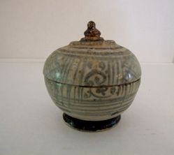 Stupa-shaped jar with lid
