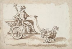 Mercury in a Chariot Drawn by Roosters