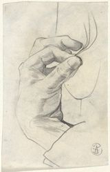 Hand (recto); Portrait of a man and more sketches of a hand (verso)