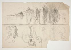 Sheet of sketches for The Quest of the Holy Grail mural series at Boston Public Library (recto); Unidentified sketch (verso)