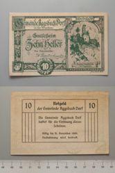 10 Heller from Aggsbach Dorf in der Wachau, redeemable 31 Dec. 1920, Notgeld