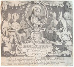 Title plate from the series, Life and Miracles of Saint Catherine of Siena