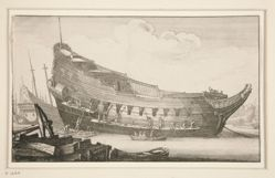 Fitting out a hull, from Navium varie figurae, number four of a series of twelve etchings of  Dutch ships