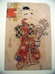 Woman dressed in Kimono, Holding basket of Flowers, from Series: Modern Version of Seven Komachi