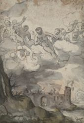 Celestial figures above a castle ravaged by Death and Devil