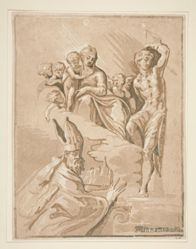 Virgin and Child with Saint Sebastian Adored by a Bishop
