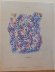 "Study for lithograph ""un chasse-croise inextricable"" in Une étoile de craie by Patrick Waldberg"