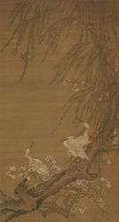 Egrets, Small Birds, Willows, and Peach Blossoms